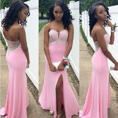 Sexy Mermiad Crystal Long Evening Dress Open Back Side Slit Floor Length Plus Size Dresses for Women