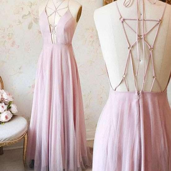 Unique V Neck Pink Long Chiffon Prom Dress,Evening Dress