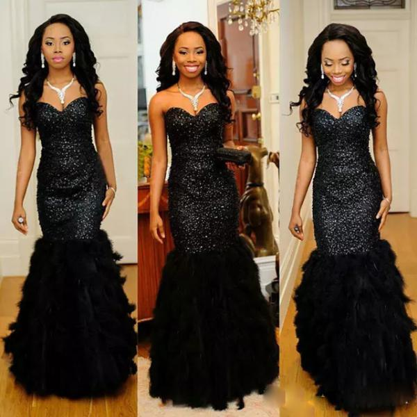 Black Mermaid Prom Dresses 2017 Sweetheart Sequins Feather Long Formal Evening Party Gowns Custom Made Evening Gowns with Lace up Back