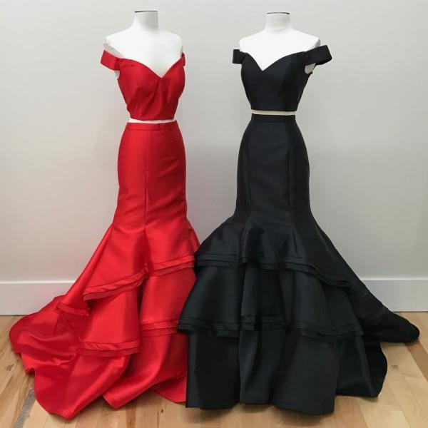 two piece prom dress,mermaid prom dress,off the shoulder dress,sexy evening gowns,mermaid evening dresses