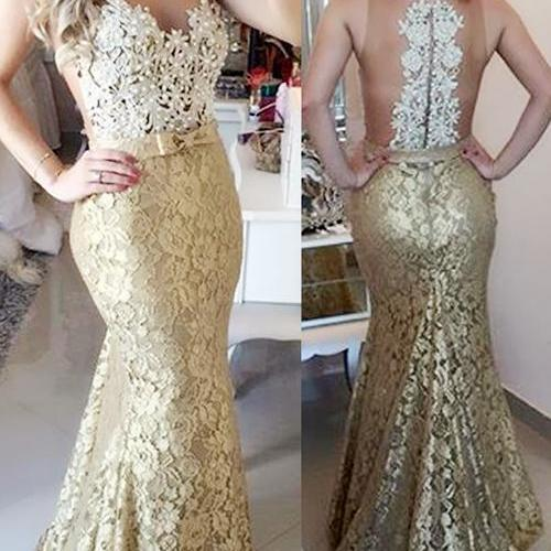 yellow lace dress with peari ,lpearl lace evening dress,High Quality Illusion Mermaid Sweep Train Champagne Prom/Evening Dress With Bow