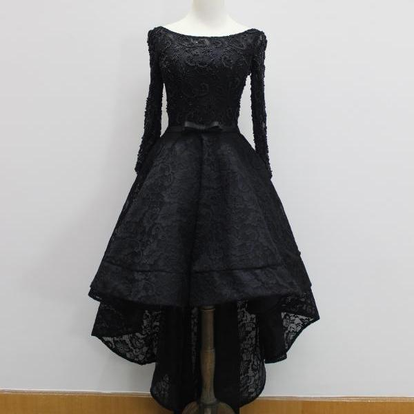 Long Sleeve High Low Prom Dresses Elegant Prom Gowns Sexy Black Lace Evening Dresses Party Dress Robe De Soiree