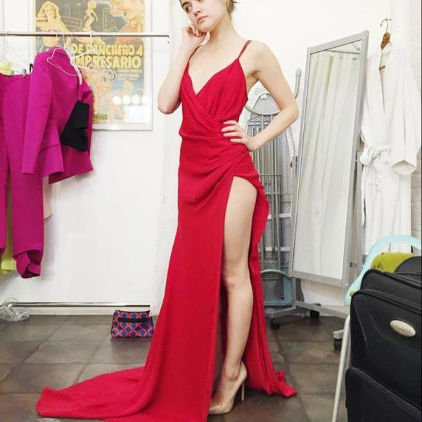 Mermaid Prom Dresses,Princess Prom Dress,Red Prom Gown,Red Prom Gowns,Elegant Evening Dress,Modest Evening Gowns,Simple Party Gowns,Straps Prom Dress
