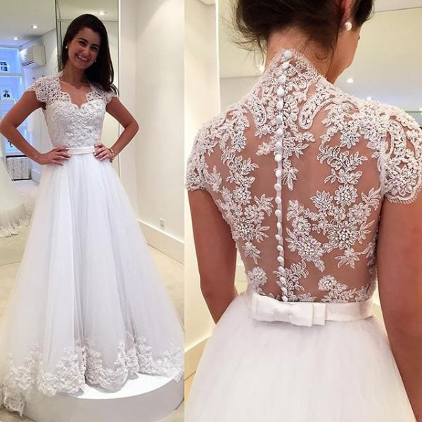 vintage lace v neck cap sleeves tulle princess wedding dress 2017 custom made bridal gowns