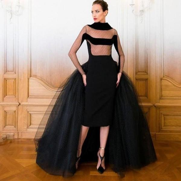 Unique Luxurious Formal Black Satin and Tulle Women Long Evening Dresses with Sleeve