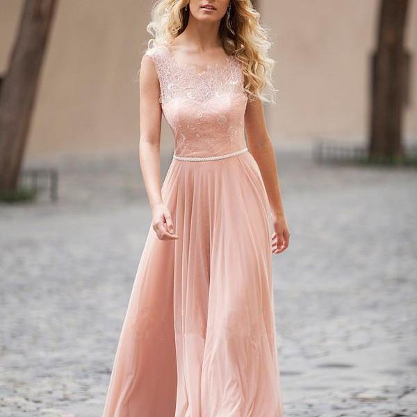 Elegant A-line Scoop Bodice Beaded Belt Chiffon Long Evening Dress