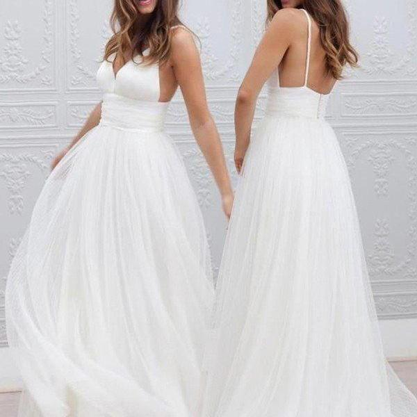 White Tulle Plunge V Spaghetti Straps Floor Length A-Line Wedding Dress Featuring Open Back