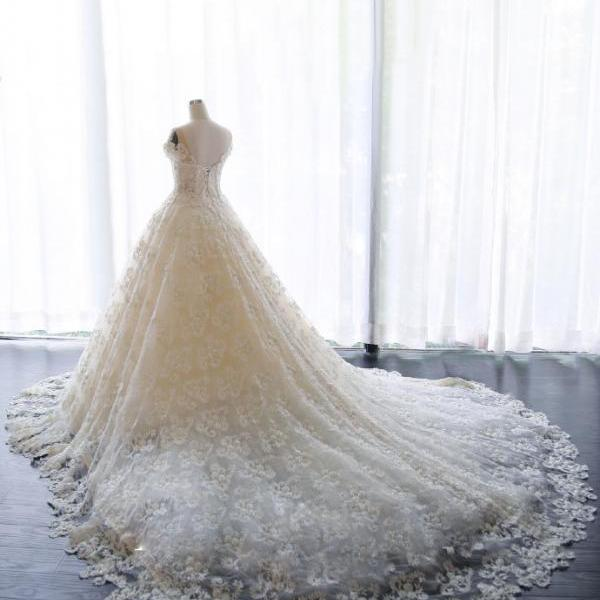Princess Wedding Dress, Wedding Dresses,Wedding Dress,Wedding Gown,Bridal Gown,Bride Dresses, Puffy Wedding Gown,Ball Gown Bridal Dress,Short Sleeves Wedding Dress,Lace Wedding Dress,Pearls Bride Dresses,Lace Up,Plus Size Wedding Dress,Vestido De Noiva