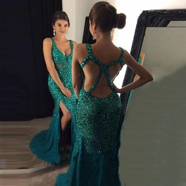 Prom Dress 2017, Beading Emerald Green Prom Dress, Backless Prom Dress, Long Prom Dress, Sexy Mermaid Side Split Gold Evening Party Gown, Vestido Longo