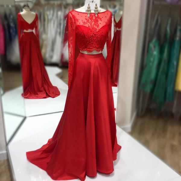 Red Boat Neckline Two Piece Prom Dress, Long Sleeve Formal Gown, Long Party Dress