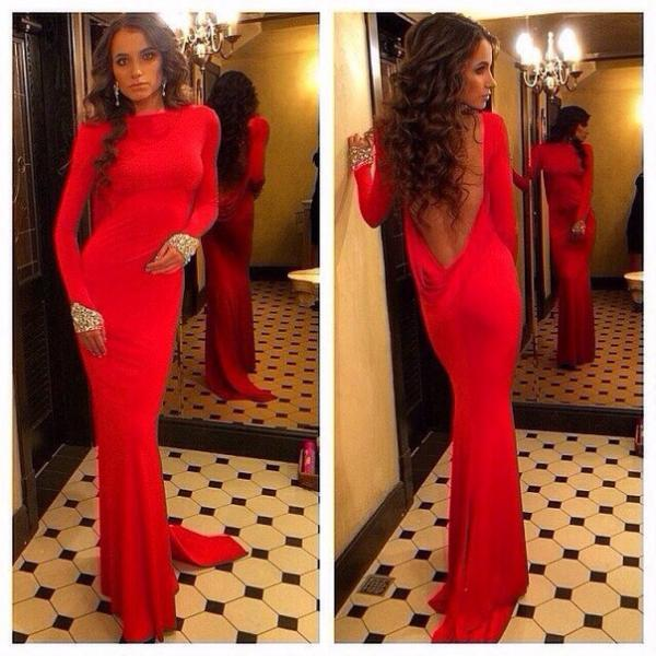 Simple Prom Dress, Long Sleeves Prom Dress, Open Back Prom Dress, Red Prom Dress, Mermaid Prom Dress, Sexy Prom Dresses,Cheap Prom Dress,Evening Dress