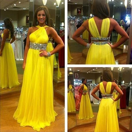 Yellow Prom Dress,2017 Charming prom dress,Elegant Women dress,Party dress,Special Occasion dress,A-Line prom dress,Sequins Evening Gowns,
