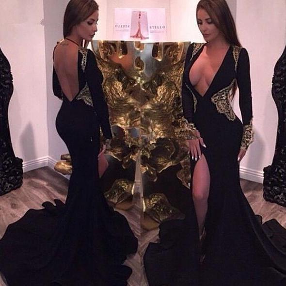 Black Prom Dresses,Mermaid Prom Dress,Prom Dress,Prom Dresses,2017 Formal Gown,Long Sleeves Evening Gowns,Party Dress,Prom Gown For Teens