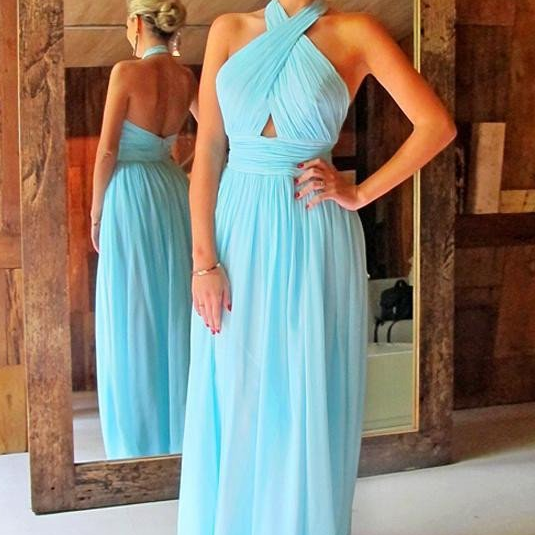 Light Blue Chiffon Prom Dresses For Teens,Backless Elegant Long Prom Dresses,Simple Plus Size Prom Gowns,Cheap Party Dresses,Evening Dresses,Party Dresses