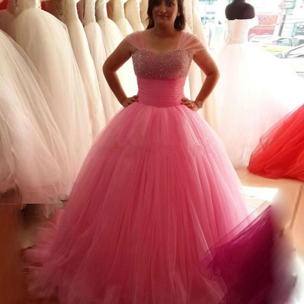 Pink Ball Gowns Prom Dresses,Beauty Quinceanera Dresses,Long Prom Dresses,Charming Evening Dresses,Modest Prom Dress,Sweet 16 Dress