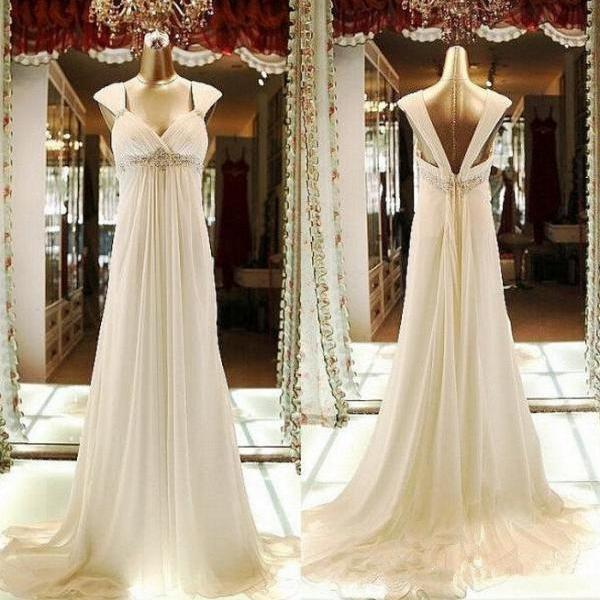 e23bc63637 Sweetheart Empire Waist Low Back Chiffon Beaded Ivory Beach Wedding Dresses  With Cap Sleeves on Luulla