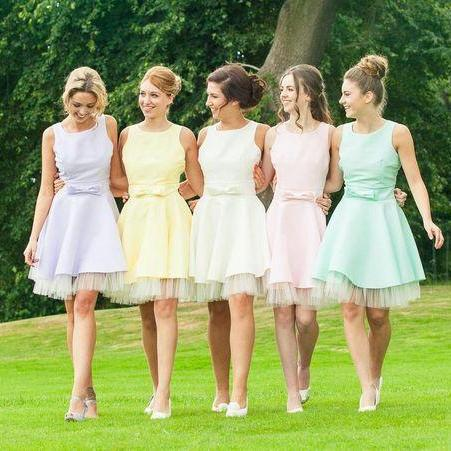 Candy Color Homecoming Dresses, Sweet Bridesmaid Dresses,Bowknot Homecoming Dresses