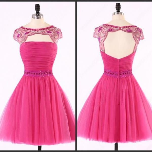 cheap homecoming dresses 2017 short ,Backless Homecoming dress, Sexy Hot Pink homecoming dress, Tulle homecoming dress, Sexy homecoming dress, dresses for homecoming,