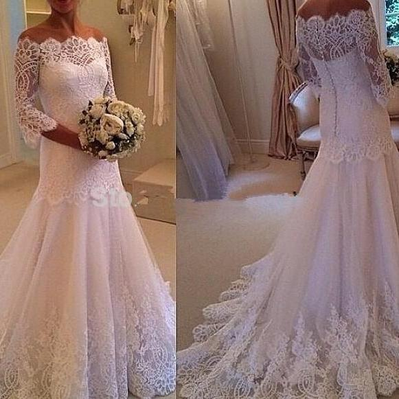 New Design Fashionable Sexy Wedding Dress,Mermaid Lace Wedding Dress Half Sleeve Bridal gown