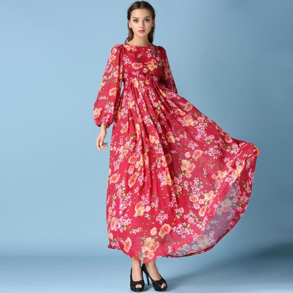 High Quality Floral Chiffon Long Sleeve Maxi Dress - Wine Red