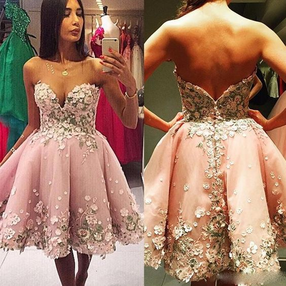 Homecoming Dresses,Sweetheart Homecoming Dresses,Organza Homecoming Dresses,Homecoming Dresses With Appliques,Stunning Homecoming Dresses,Cheap Homecoming Dresses,