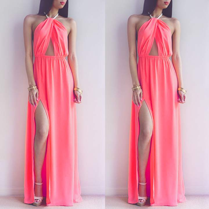 b40e92d71823e Hollow Out Halter Pink Backless Split Long Maxi Beach Dress on Luulla