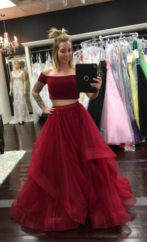 3e8415d1579 Burgundy Tulle Prom Dress
